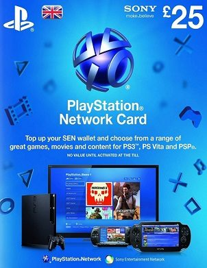 Playstation Network (PSN) Card £25 GBP cd key