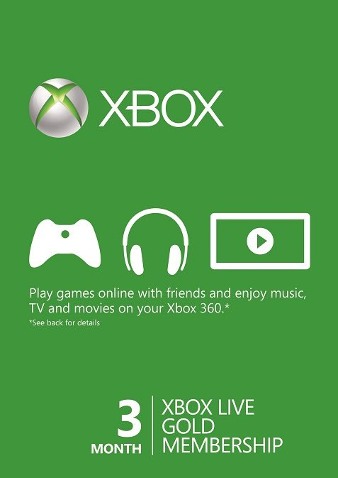 Microsoft Xbox Live 3 Month Gold Membership Card cd key